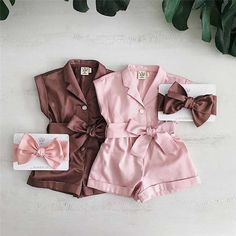 Cute Little Girls Outfits, Girls Summer Outfits, Dresses Kids Girl, Kids Outfits, Baby Girl Fashion, Kids Fashion, Baby Girl Dress Patterns, Jumpsuits For Girls, Cute Baby Clothes