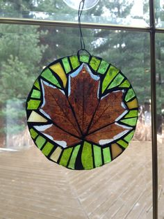 Real Fall Leaves in Stained Glass Mosaic Suncatcher - Maple Leaf with Green by HeatherEsperanza on Etsy https://www.etsy.com/listing/222433810/real-fall-leaves-in-stained-glass-mosaic
