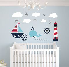 Nautical Theme Wall Decal - Nautical Decor - Nursery Wall Decals - Whale and Sailboat - Vinyl Baby Nursery Decor Sticker >>> See this great product. (This is an affiliate link) #KidsRoomDecor #nauticalbaby #babyroom #babyroomdecor