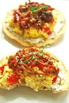 Scrambled Egg Breakfast Tostadas with Caramelized Onions and Herbed Goat Cheese