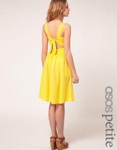 ASOS PETITE Midi Dress With Tie Back  in Yellow