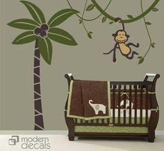 Wall Decals - monkey decal - nursery - jungle decals - kids room - vinyl wall art. $88.00, via Etsy.
