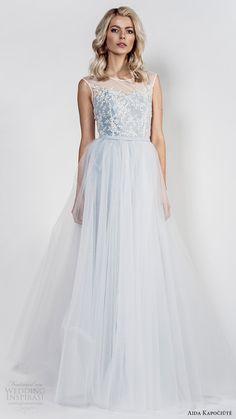 aida kapociute 2017 bridal sleeveless jewel neck lace bodice a line wedding dress (3) mv light blue color -- Aida Kapociute 2017 Wedding Dresses