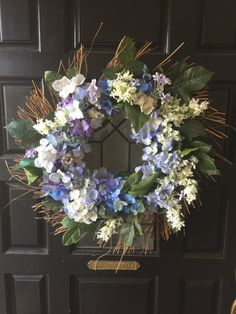 Spring Wreath-Summer Wreath-Front Door by BlessMyNestShop on Etsy