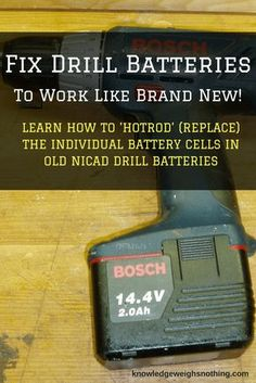 Woodworking Tools Easily Fix Old Drill Batteries (To Work Like Brand New!) - Breathe life into your old drill by repairing the failing battery. Learn how to open the battery pack and replace the old individual cells with new cells Cordless Tools, Cordless Drill, Plan Garage, Garage Ideas, Battery Hacks, Homemade Tools, Home Repair, Dremel, Woodworking Tips