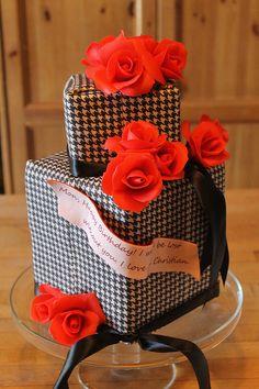 red, white & black cake