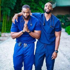 Here are photos of Nigerian male twins who are nurses in the US.Vincent Izunna Ewudo and Valentine Ewudo stole the hearts of online users with their physiques when their photos hit the internet. The twins hail from Anambra State. More photos. Fine Black Men, Gorgeous Black Men, Black Boys, Fine Men, Beautiful Men, Black Man, Hot Men, Lgbt, Male Doctor