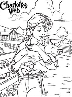 charlottes web coloring page used with core b la 3 for sonlight homeschool read - Language Arts Coloring Pages