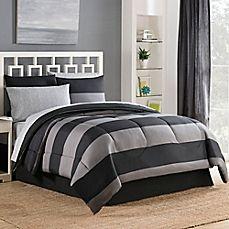 image of Bryce Reversible 6-8 Piece Comforter Set in Black