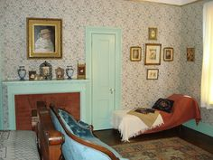A period bedroom in the James A. Garfield National Historic Site home, typical of the Victorian era.