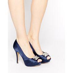 Little Mistress Embellished Platform Peep Toe Heeled Shoes ($60) ❤ liked on Polyvore