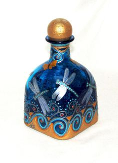 Silver Dragonfly and Gold Butterfly Patron Bottle Decanter