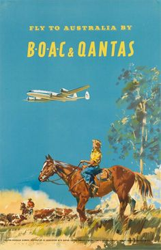 Fly to Australia by BOAC & Qantas (by Frank Wootton)