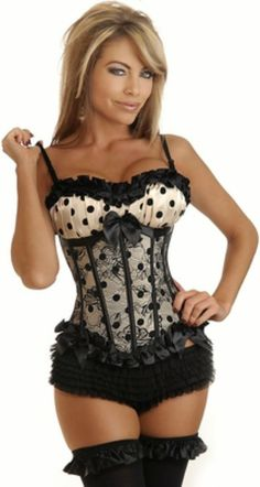 5e1e7aca39 Plus Size Sexy Black Lace Corset With G-String Top with Strap Black Polka  Dots waist training Corset and Busiter - Lingerie Life