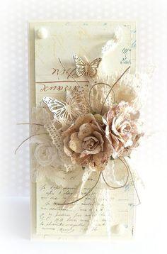 Best 12 Wedding Card Hand Made Ideas Shabby Chic Trendy Ideas – SkillOfKing. Butterfly Cards, Flower Cards, Card Tags, I Card, Mixed Media Cards, Shabby Chic Cards, Beautiful Handmade Cards, Marianne Design, Pretty Cards