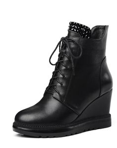 #AdoreWe #VIPme Boots - KABEIYI Black Cow Leather Pointed Toe Lace Up Wedges Fashion Ankle Boot - AdoreWe.com