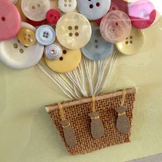 Button Art Pastel 3D Art Hot Air Balloon Nursery by quebee, $30.00