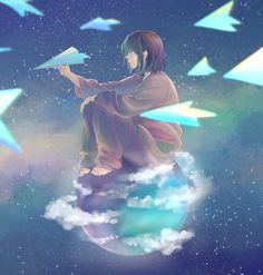 Paper airplanes are created by folding a single piece of paper into the shape of an airplane. While folding a paper airp. Gravity Art, Manga Art, Anime Art, Sky Anime, Anime Kunst, Foto Art, Anime Scenery, Noragami, Aesthetic Anime