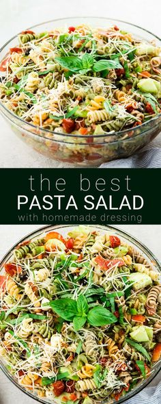 This Best Pasta Salad Recipe is made with Homemade Dressing & Roasted Tomatoes! It is the perfect healthy & flavorful make-ahead BBQ side dish full of fresh veggies, pepperoni and fresh mozzarella cheese! Gluten-free & Vegan options! #pastasalad #bbq #sidedish #bestpastasalad #pastasaladrecipe #recipe #healthyrecipe #glutenfree #vegan via @joyfoodsunshine