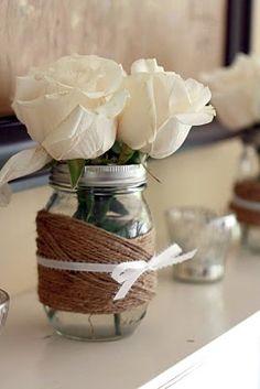 Jute twine and ribbon wrapped mason jars with ivory roses---coral tulips? Rustic and elegant decorating Bobo Vegan Wedding Cake, Wedding Cakes, Ivory Roses, White Roses, Orange Roses, Wedding Decorations, Table Decorations, Wedding Ideas, Centerpiece Wedding