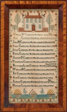 Cubberley Family Record Sampler, Burlington County, New Jersey, circa 1805