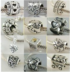 Genuine Solid 925 Sterling Silver LOVE HEART European Bead Charm fit PANDORA Bracelet