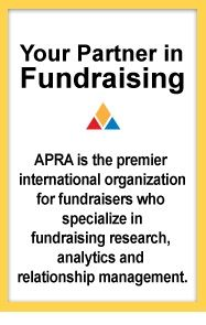 APRA, the Association of Professional Researchers in Advancement, is the largest organization of its kind. APRA supports fundraising professionals in research, analytics, and prospect management via a listserve, educational opportunities, symposia, online seminars, and conferences.