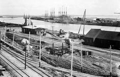 (ca. 1900)#* - View of several tall ships at dock in San Pedro Harbor.