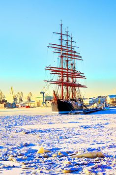 "Barque ""Sedov"" wintering in St. Petersburg in splendid isolation."
