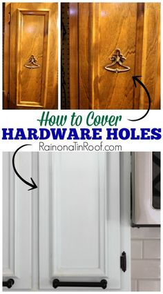 to Cover Old Hardware Holes Banish that old centered hardware! So easy to do! How to Cover Old Hardware Holes via Banish that old centered hardware! So easy to do! How to Cover Old Hardware Holes via Furniture Projects, Furniture Makeover, Home Projects, Diy Furniture, Furniture Refinishing, Painting Furniture, Hutch Makeover, Furniture Cleaning, Chair Makeover