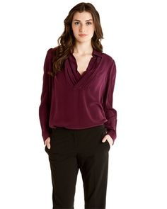 in cowl neck blouses or tops in eggplant | Tegan Bordeaux Silk Cowl Neck Blouse
