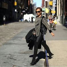 Bonang Matheba x BALMAIN. Snapped in New York. We know she's all about HARD. WORK!