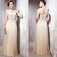 Elegant Ivory Tulle Cap Sleeve Sequin Second Wedding Evening Gowns SKU-122249