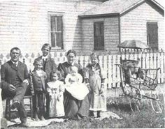 Strasburg ND: The family of Lawrence Welk: Ludwig Welk and Christina (Schwahn), immigrants from Catholic German Villages today near Odessa, Ukraine, with their children outside their farm. Christina Welk is holding Lawrence. Volga Germans, Lawrence Welk, German Village, Odessa Ukraine, Catherine The Great, My Family History, Old Farm Houses, The Old Days, Black Sea