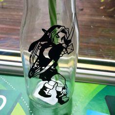 Link from Zelda  glass mini milkshake bottle by Beyondcosmicshop