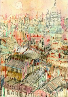 View across Paris Roof Tops This Parisian print is a reproduction taken from my original painting which I produced using watercolour and pencil and depicts this beautiful panoramic view over Paris with the dome of Sacre Coeur in the distance. Paris Drawing, Paris Rooftops, Montmartre Paris, Paris Painting, French Walls, Watercolor Sketch, Watercolour Painting, Watercolours, Italy Art