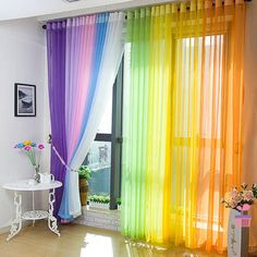 New Lot Colors Door Window Curtain Drape Panel or Scarf Assorted Scarf Sheer Voile. 1 PCS Sheer Voile Window Curtains Drape Panel or Scarf Assorted 15 Colors. Design of this window panel puts a natural spin on a traditional design. Window Curtain Designs, Curtain For Door Window, Window Drapes, Panel Curtains, Curtain Partition, Glass Curtain, Curtain Ideas, Tulle Curtains, Home Curtains