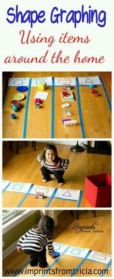 Graphing Shapes (preschool or kindergarten) Preschool Learning, Kindergarten Math, Early Learning, Fun Learning, Preschool Activities, Preschool Shapes, Shape Activities, Educational Activities, Math Classroom