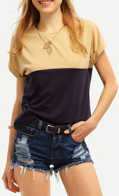 Royal Blue Crew Neck Roll-up Sleeve Color Block T-shirt. US$9.90