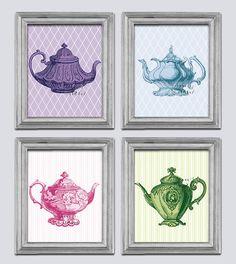 Victorian teapots - Modern Kitchen Artwork - 4 print set - Dinning room decor - English Cottage - anniversary gift - kitchen tea pots. $29.99, via Etsy.