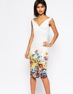 1735eb5c0f ASOS PETITE Placed Border Bardot Off The Shoulder Pencil Dress - Multi  Ascot Dresses