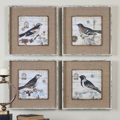 Uttermost Black and White Birds Art - Set of 4 | from hayneedle.com
