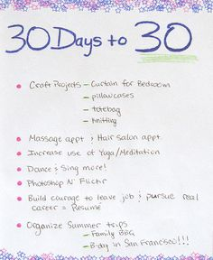 """For some time now I've thought of what I'd like to accomplish this year before turning 30. I'm known for my """"To-Do Lists"""" and being the Queen of Procrastinationland. Why do one thing when ya can start and not finish 3 or 4?  So why not put them togeth Working Hard!! http://beckysblog.net/exercising-like-a-dog/"""