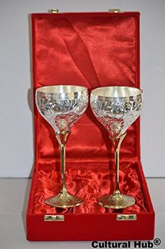 Cultural Hub ® JK-690-0368 Set of 2 Silver Plated Brass Wine Goblets with Original Red Velvet Box, Silver Plated Glossy Brass Champagne Flutes, Engraved Champagne Flutes, Gift Set, Embossed Brass Goblet, Silver Wine Flutes in Shiny Red Velvet Box with Satin Cloth Interior, Solid Material Party Drinking Accessories, Home Décor, Bar Décor, Barware, Drinkware, and Vintage Collectable Gifting Item for Anniversary, Housewarming, Diwali, Wedding Cordial Gift, Return Gift, Festive, Corporate Gift…
