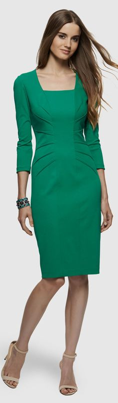 Jewel Tone Sheath Dress --- A vibrant color is a great way to spice up your professional or presentation wardrobe. The ruching will be very flattering too!