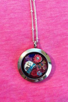 My youngest sisters she loves camping. Medium Silver Locket. Mothers Day Present!