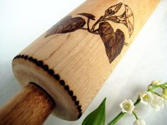 Upcycled vintage rolling pin Pyrography art by RivdomArt on Etsy, $35.00