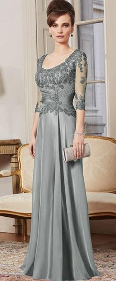 Elegant Tulle & Silk-like Chiffon Sheath Scoop Neckline Full-length Mother of the Bride Dress