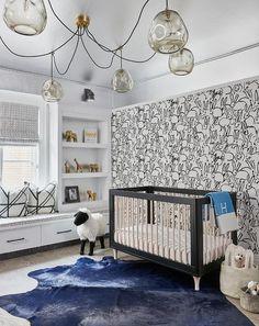 Blue Hermes Throw Blanket on Black Crib - Contemporary - Nursery Baby Nursery Neutral, White Nursery, Monochrome Nursery, Bunny Love, Rabbit Wallpaper, White Wallpaper, Room Wallpaper, Hermes, Modern Crib