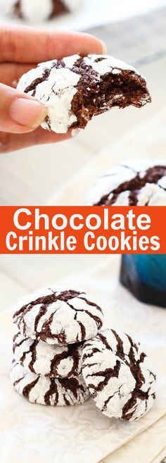 Chocolate Crinkle Cookies - sweet, easy and the BEST chocolate crinkle cookie recipe with butter, cocoa and powdered sugar. Great for Christmas holidays! Chocolate Crinkle Cookies, Chocolate Crinkles, Dark Chocolate Cakes, Homemade Chocolate, Chocolate Butter, Chocolate Cupcakes, Chocolate Recipes, Oreo Dessert, Delicious Desserts